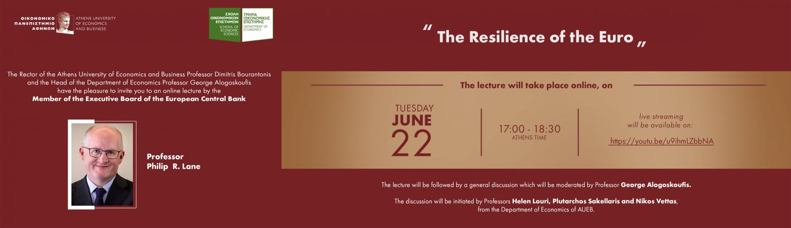 """""""The Resilience of the Euro"""", με τον Philip R. Lane22Ιουνίου 2021, 17:00 - 18:30"""
